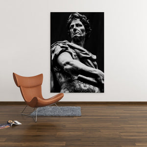 Julius Caesar Sculpture Black & White - Framed Canvas Painting Wall Art Office Decor, large modern pop artwork for home or office, Entrepreneur Inspirational and motivational Quotes on Canvas great for man cave or home. Perfect for Artwork Addicts. Made in USA, FREE Shipping.