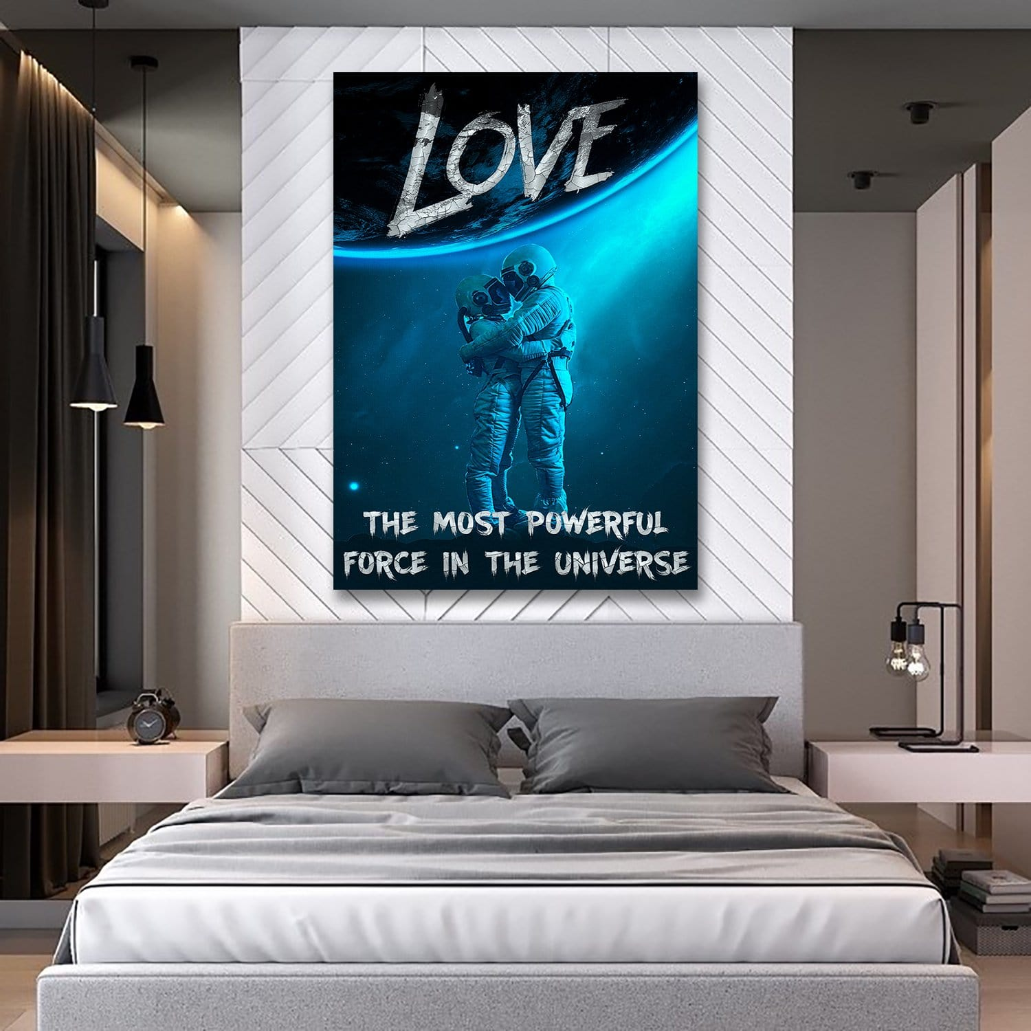 Love The Most Powerful Force - Framed Canvas Painting Wall Art Office Decor, large modern pop artwork for home or office, Entrepreneur Inspirational and motivational Quotes on Canvas great for man cave or home. Perfect for Artwork Addicts. Made in USA, FREE Shipping.