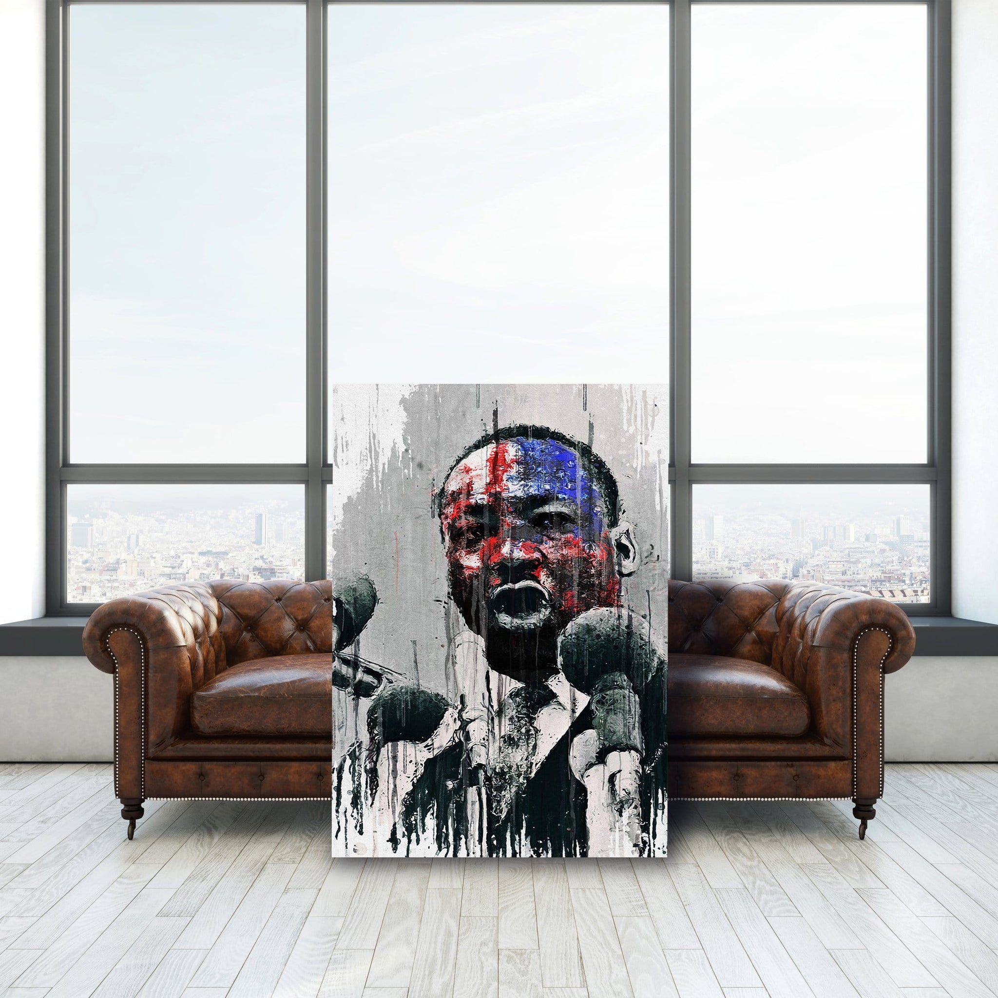 Martin Luther King American Flag - Framed Canvas Painting Wall Art Office Decor, large modern pop artwork for home or office, Entrepreneur Inspirational and motivational Quotes on Canvas great for man cave or home. Perfect for Artwork Addicts. Made in USA, FREE Shipping.