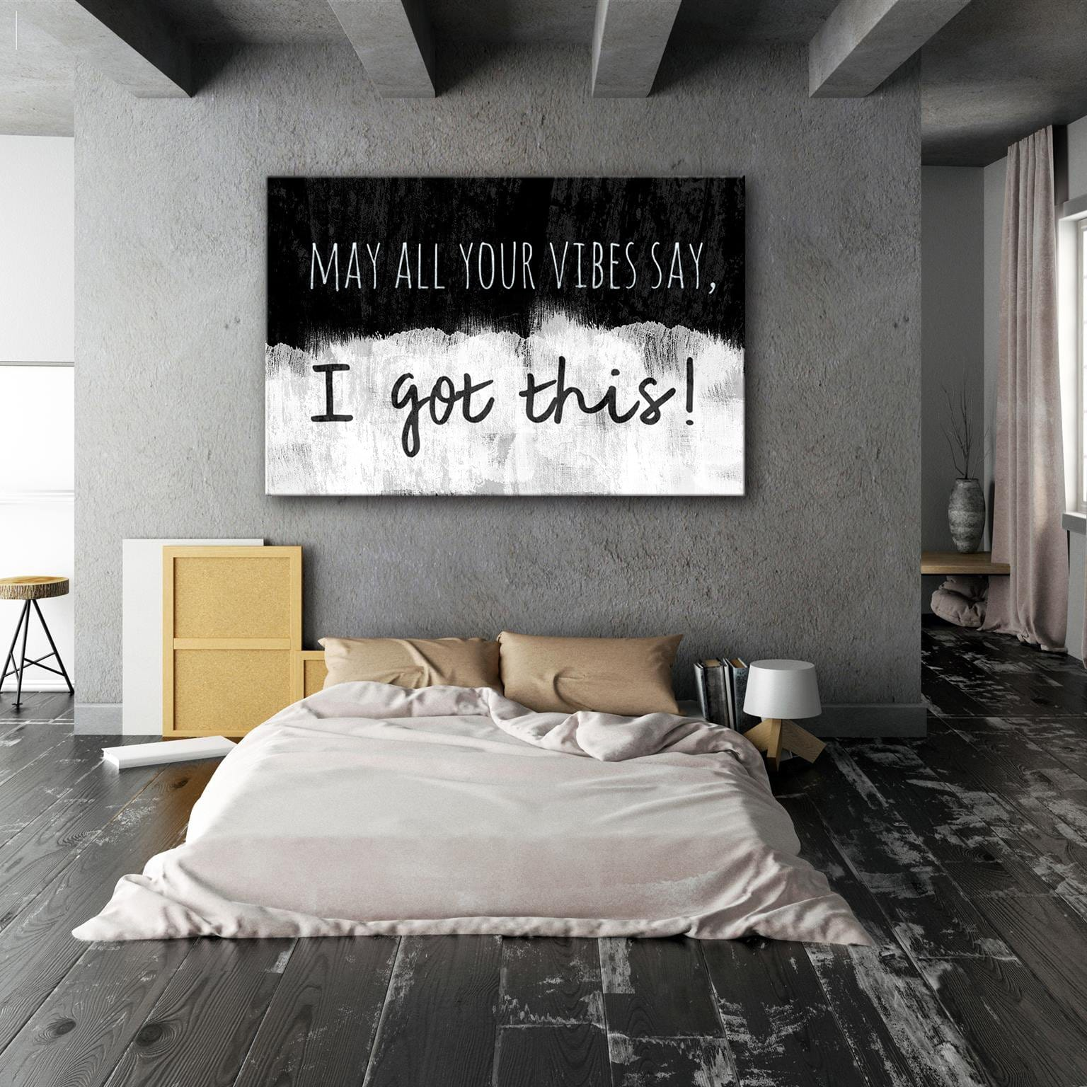 May all your vibes - Framed Canvas Painting Wall Art Office Decor, large modern pop artwork for home or office, Entrepreneur Inspirational and motivational Quotes on Canvas great for man cave or home. Perfect for Artwork Addicts. Made in USA, FREE Shipping.