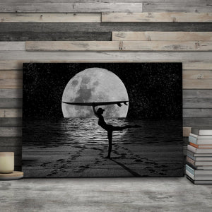 Moon Beauty - Framed Canvas Painting Wall Art Office Decor, large modern pop artwork for home or office, Entrepreneur Inspirational and motivational Quotes on Canvas great for man cave or home. Perfect for Artwork Addicts. Made in USA, FREE Shipping.