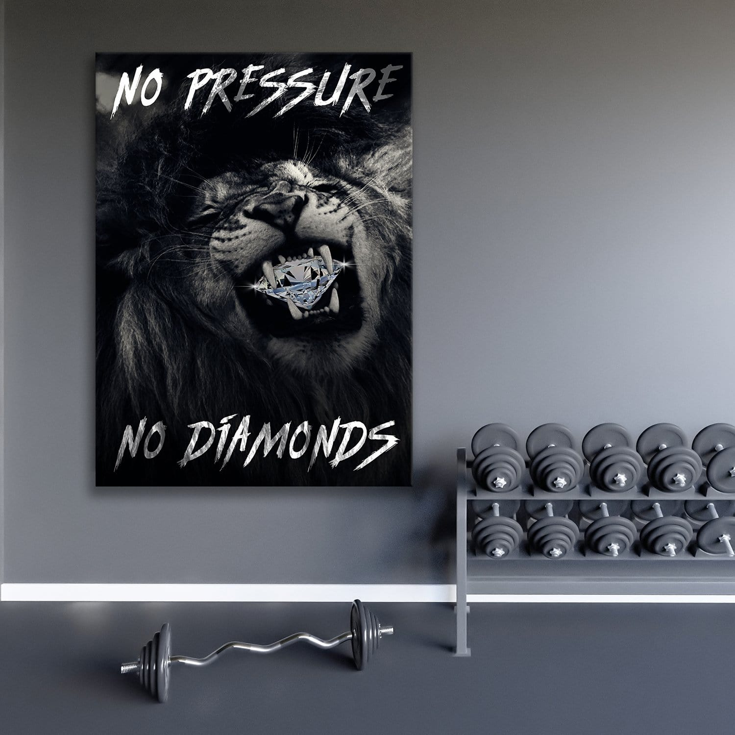 No Pressure No Diamonds - Framed Canvas Painting Wall Art Office Decor, large modern pop artwork for home or office, Entrepreneur Inspirational and motivational Quotes on Canvas great for man cave or home. Perfect for Artwork Addicts. Made in USA, FREE Shipping.