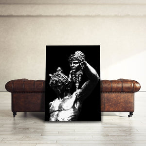 Perseus With Head Of Medusa Statue Black White - Framed Canvas Painting Wall Art Office Decor, large modern pop artwork for home or office, Entrepreneur Inspirational and motivational Quotes on Canvas great for man cave or home. Perfect for Artwork Addicts. Made in USA, FREE Shipping.