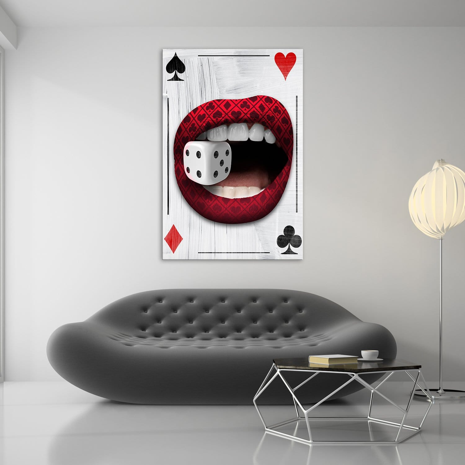 Poker Lips - Framed Canvas Painting Wall Art Office Decor, large modern pop artwork for home or office, Entrepreneur Inspirational and motivational Quotes on Canvas great for man cave or home. Perfect for Artwork Addicts. Made in USA, FREE Shipping.