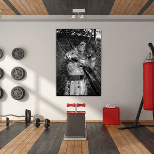 Rocky Balboa Breaking Glass - Framed Canvas Painting Wall Art Office Decor, large modern pop artwork for home or office, Entrepreneur Inspirational and motivational Quotes on Canvas great for man cave or home. Perfect for Artwork Addicts. Made in USA, FREE Shipping.
