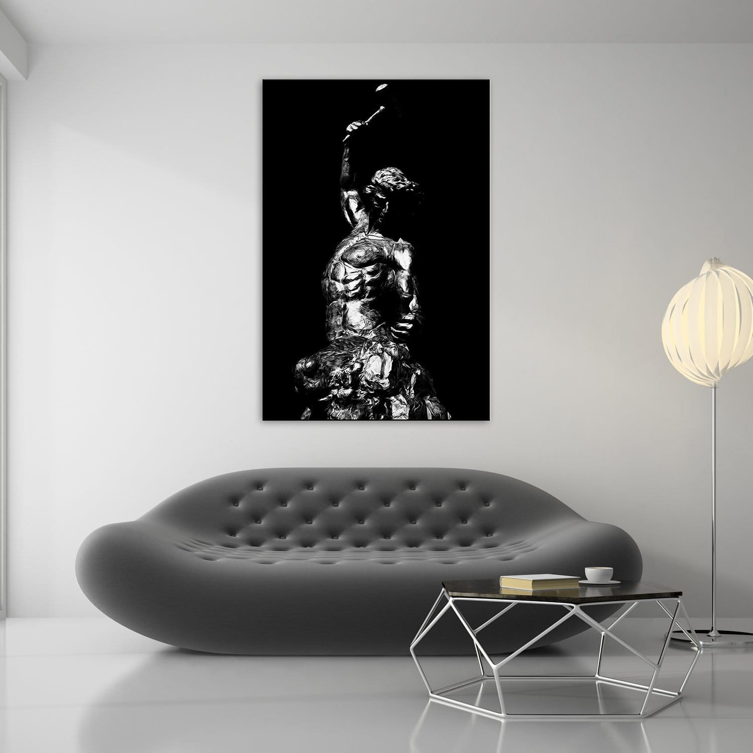 Self Made Man Statue Black White - Framed Canvas Painting Wall Art Office Decor, large modern pop artwork for home or office, Entrepreneur Inspirational and motivational Quotes on Canvas great for man cave or home. Perfect for Artwork Addicts. Made in USA, FREE Shipping.