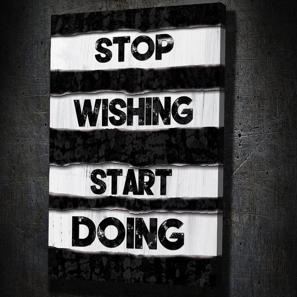 Stop Wishing - Framed Canvas Painting Wall Art Office Decor, large modern pop artwork for home or office, Entrepreneur Inspirational and motivational Quotes on Canvas great for man cave or home. Perfect for Artwork Addicts. Made in USA, FREE Shipping.