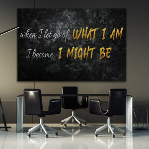 When I Let Go Of - Framed Canvas Painting Wall Art Office Decor, large modern pop artwork for home or office, Entrepreneur Inspirational and motivational Quotes on Canvas great for man cave or home. Perfect for Artwork Addicts. Made in USA, FREE Shipping.