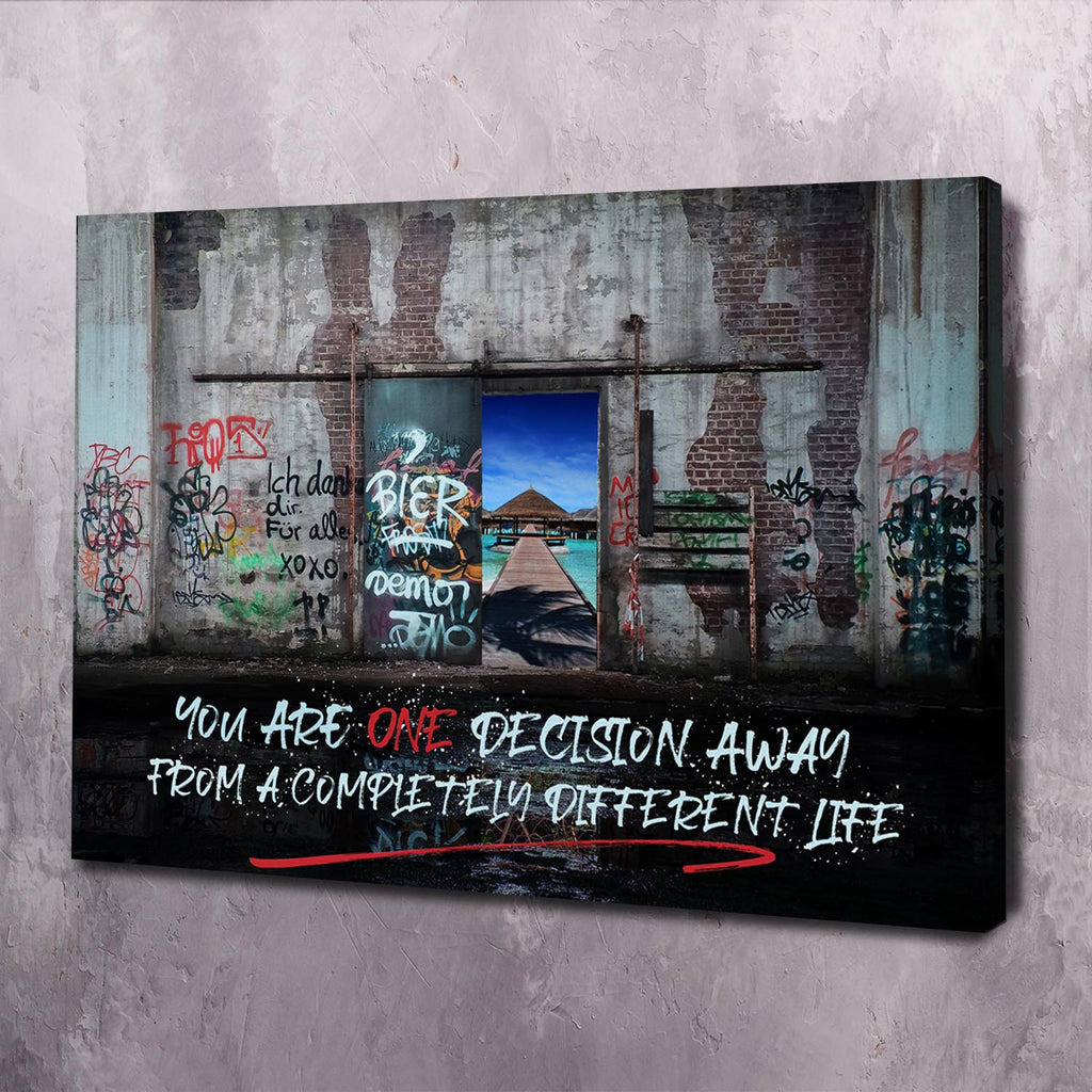 You Are One Decision Away - Framed Canvas Painting Wall Art Office Decor, large modern pop artwork for home or office, Entrepreneur Inspirational and motivational Quotes on Canvas great for man cave or home. Perfect for Artwork Addicts. Made in USA, FREE Shipping.