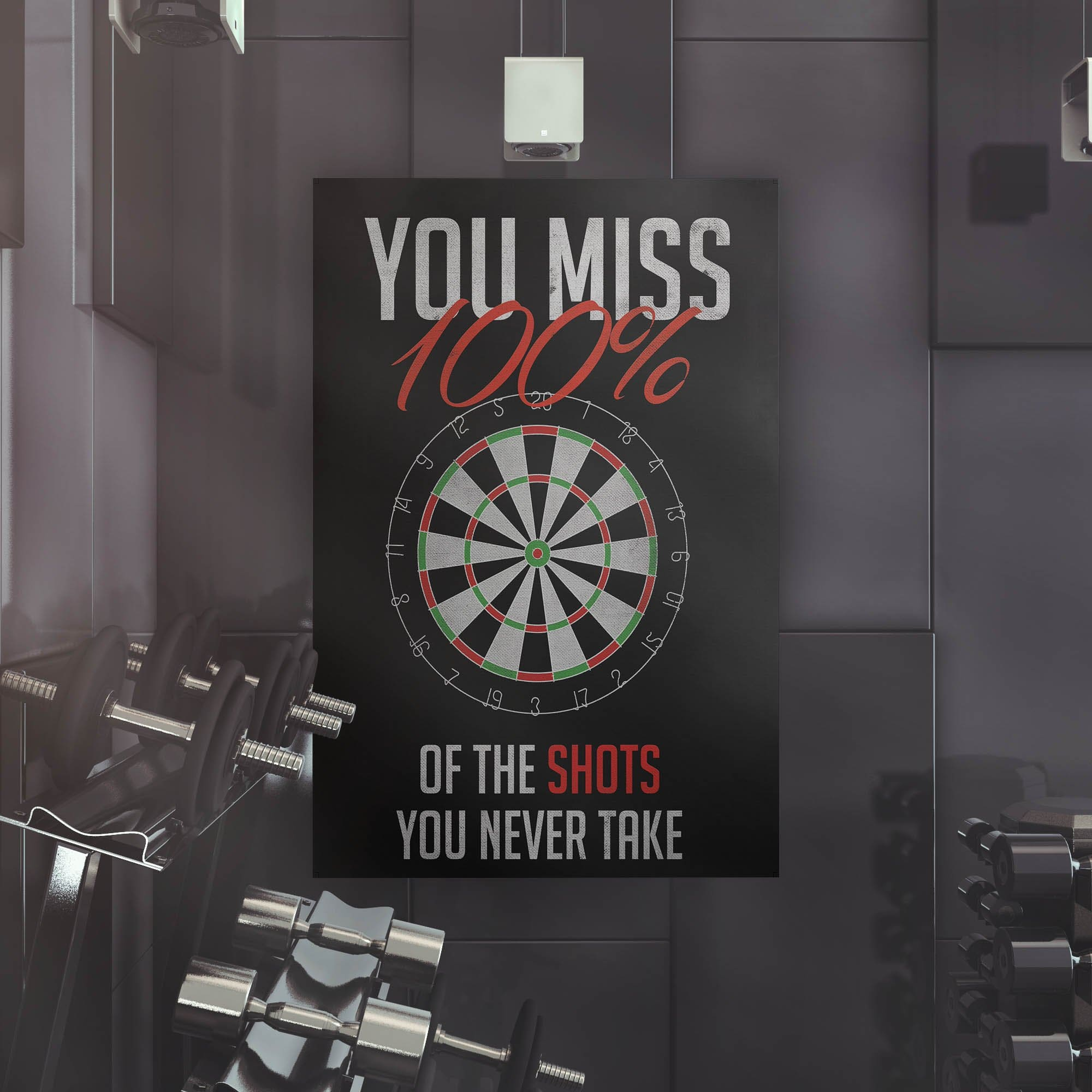 You Miss 100 Of The Shots Dartboard - Framed Canvas Painting Wall Art Office Decor, large modern pop artwork for home or office, Entrepreneur Inspirational and motivational Quotes on Canvas great for man cave or home. Perfect for Artwork Addicts. Made in USA, FREE Shipping.
