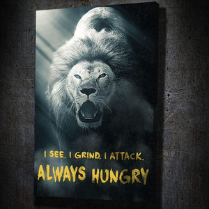 Always Hungry - Framed Canvas Painting Wall Art Office Decor, large modern pop artwork for home or office, Entrepreneur Inspirational and motivational Quotes on Canvas great for man cave or home. Perfect for Artwork Addicts. Made in USA, FREE Shipping.