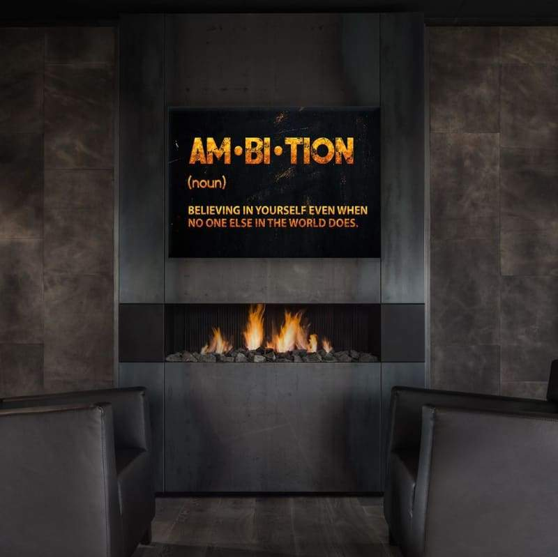 Ambition Wall Art - Framed Canvas Painting Wall Art Office Decor, large modern pop artwork for home or office, Entrepreneur Inspirational and motivational Quotes on Canvas great for man cave or home. Perfect for Artwork Addicts. Made in USA, FREE Shipping.