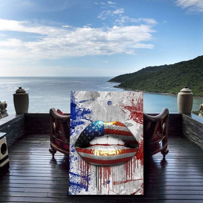 American Lips - Framed Canvas Painting Wall Art Office Decor, large modern pop artwork for home or office, Entrepreneur Inspirational and motivational Quotes on Canvas great for man cave or home. Perfect for Artwork Addicts. Made in USA, FREE Shipping.