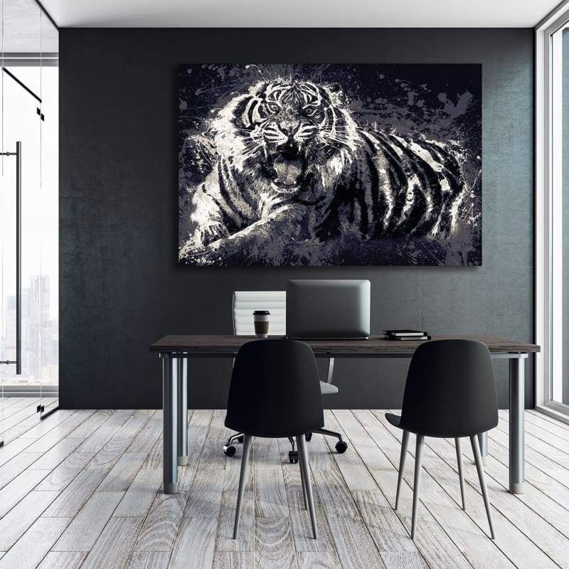 Angry Tiger - Framed Canvas Painting Wall Art Office Decor, large modern pop artwork for home or office, Entrepreneur Inspirational and motivational Quotes on Canvas great for man cave or home. Perfect for Artwork Addicts. Made in USA, FREE Shipping.