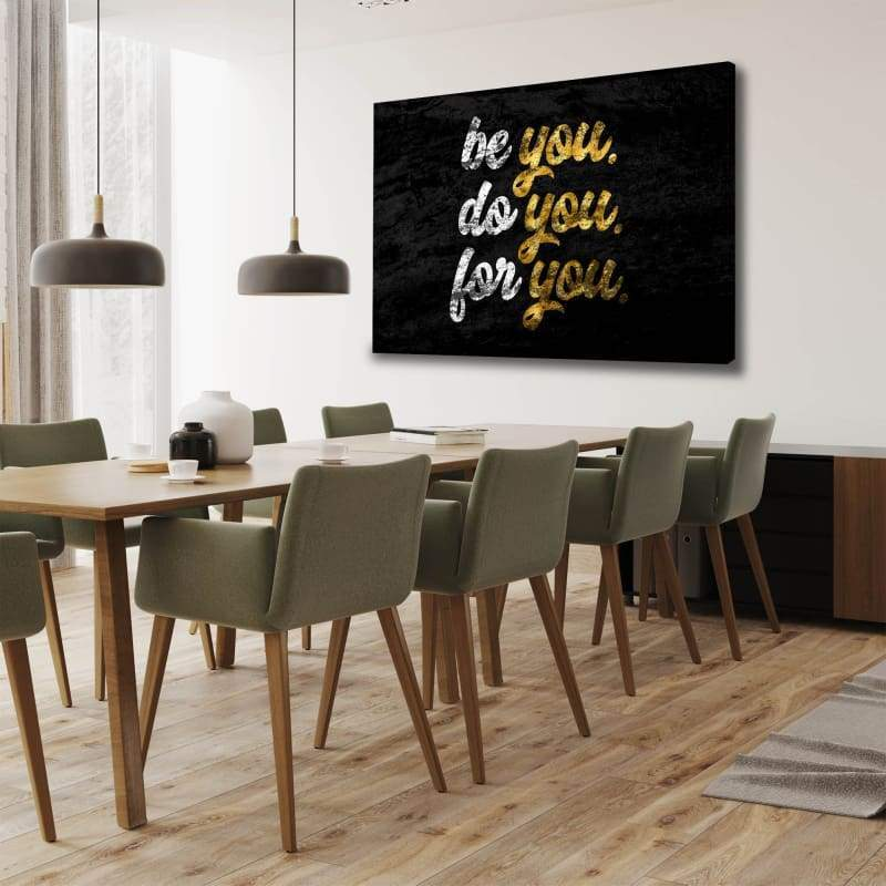 Be You - Framed Canvas Painting Wall Art Office Decor, large modern pop artwork for home or office, Entrepreneur Inspirational and motivational Quotes on Canvas great for man cave or home. Perfect for Artwork Addicts. Made in USA, FREE Shipping.