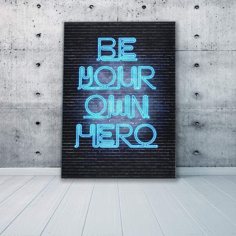 Be Your Own Hero - Framed Canvas Painting Wall Art Office Decor, large modern pop artwork for home or office, Entrepreneur Inspirational and motivational Quotes on Canvas great for man cave or home. Perfect for Artwork Addicts. Made in USA, FREE Shipping.