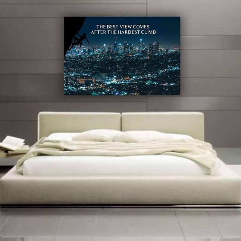 Best View - Framed Canvas Painting Wall Art Office Decor, large modern pop artwork for home or office, Entrepreneur Inspirational and motivational Quotes on Canvas great for man cave or home. Perfect for Artwork Addicts. Made in USA, FREE Shipping.