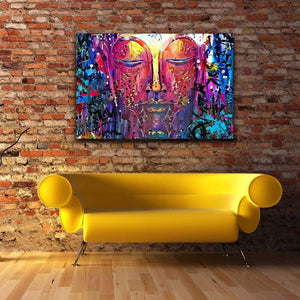 Buddha Graffiti - Framed Canvas Painting Wall Art Office Decor, large modern pop artwork for home or office, Entrepreneur Inspirational and motivational Quotes on Canvas great for man cave or home. Perfect for Artwork Addicts. Made in USA, FREE Shipping.