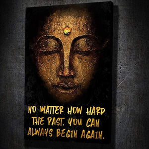 Buddha No Matter How Hard - Framed Canvas Painting Wall Art Office Decor, large modern pop artwork for home or office, Entrepreneur Inspirational and motivational Quotes on Canvas great for man cave or home. Perfect for Artwork Addicts. Made in USA, FREE Shipping.
