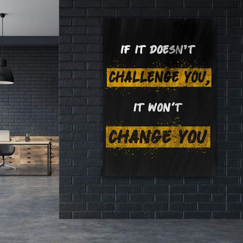 Challenge You - Framed Canvas Painting Wall Art Office Decor, large modern pop artwork for home or office, Entrepreneur Inspirational and motivational Quotes on Canvas great for man cave or home. Perfect for Artwork Addicts. Made in USA, FREE Shipping.