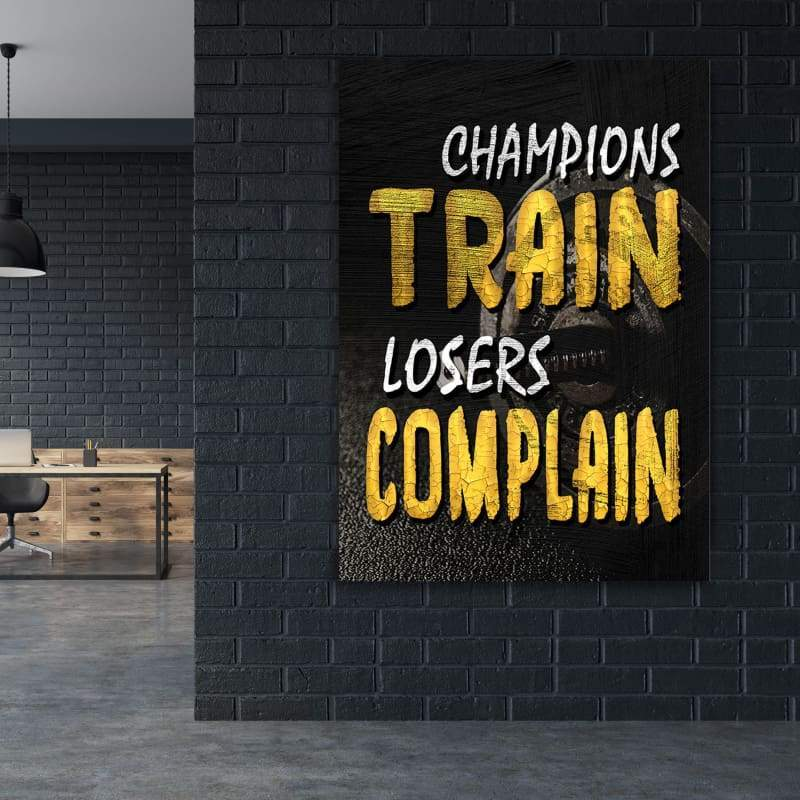 Champions Train - Framed Canvas Painting Wall Art Office Decor, large modern pop artwork for home or office, Entrepreneur Inspirational and motivational Quotes on Canvas great for man cave or home. Perfect for Artwork Addicts. Made in USA, FREE Shipping.