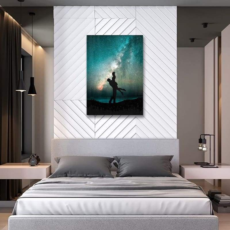 Couple Love Hold Her Up - Framed Canvas Painting Wall Art Office Decor, large modern pop artwork for home or office, Entrepreneur Inspirational and motivational Quotes on Canvas great for man cave or home. Perfect for Artwork Addicts. Made in USA, FREE Shipping.