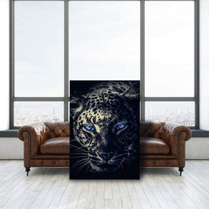 Dark Leopard Blue Eyes - Framed Canvas Painting Wall Art Office Decor, large modern pop artwork for home or office, Entrepreneur Inspirational and motivational Quotes on Canvas great for man cave or home. Perfect for Artwork Addicts. Made in USA, FREE Shipping.