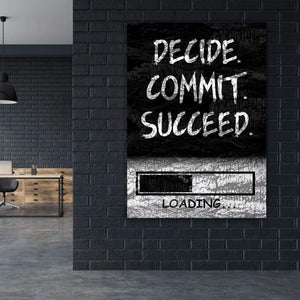 Decide Commit Succeed - Framed Canvas Painting Wall Art Office Decor, large modern pop artwork for home or office, Entrepreneur Inspirational and motivational Quotes on Canvas great for man cave or home. Perfect for Artwork Addicts. Made in USA, FREE Shipping.