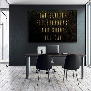 Eat Glitter - Framed Canvas Painting Wall Art Office Decor, large modern pop artwork for home or office, Entrepreneur Inspirational and motivational Quotes on Canvas great for man cave or home. Perfect for Artwork Addicts. Made in USA, FREE Shipping.