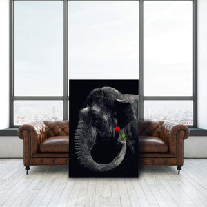 Elephant Rose Dark - Framed Canvas Painting Wall Art Office Decor, large modern pop artwork for home or office, Entrepreneur Inspirational and motivational Quotes on Canvas great for man cave or home. Perfect for Artwork Addicts. Made in USA, FREE Shipping.