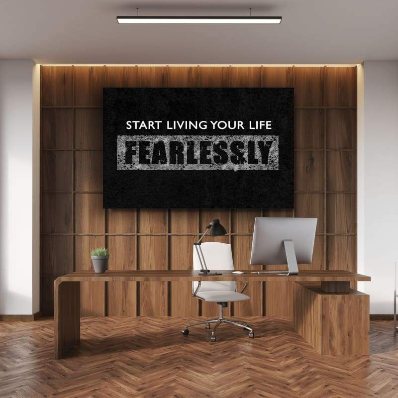 Fearlessly - Framed Canvas Painting Wall Art Office Decor, large modern pop artwork for home or office, Entrepreneur Inspirational and motivational Quotes on Canvas great for man cave or home. Perfect for Artwork Addicts. Made in USA, FREE Shipping.