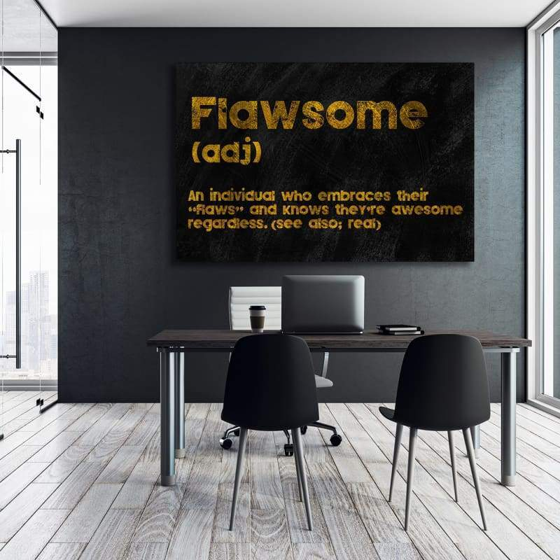 Flawsome - Framed Canvas Painting Wall Art Office Decor, large modern pop artwork for home or office, Entrepreneur Inspirational and motivational Quotes on Canvas great for man cave or home. Perfect for Artwork Addicts. Made in USA, FREE Shipping.