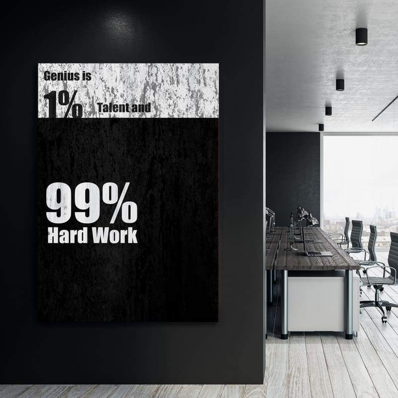 Genius - Framed Canvas Painting Wall Art Office Decor, large modern pop artwork for home or office, Entrepreneur Inspirational and motivational Quotes on Canvas great for man cave or home. Perfect for Artwork Addicts. Made in USA, FREE Shipping.
