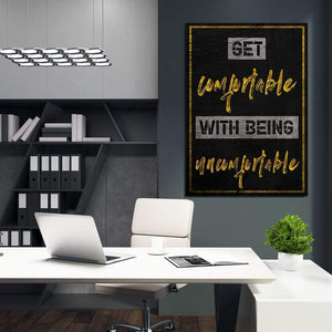 Get Comfortable - Framed Canvas Painting Wall Art Office Decor, large modern pop artwork for home or office, Entrepreneur Inspirational and motivational Quotes on Canvas great for man cave or home. Perfect for Artwork Addicts. Made in USA, FREE Shipping.