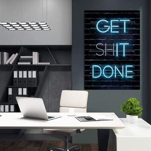 Get Shit Done - Framed Canvas Painting Wall Art Office Decor, large modern pop artwork for home or office, Entrepreneur Inspirational and motivational Quotes on Canvas great for man cave or home. Perfect for Artwork Addicts. Made in USA, FREE Shipping.