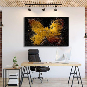 Gold Butterfly - Framed Canvas Painting Wall Art Office Decor, large modern pop artwork for home or office, Entrepreneur Inspirational and motivational Quotes on Canvas great for man cave or home. Perfect for Artwork Addicts. Made in USA, FREE Shipping.