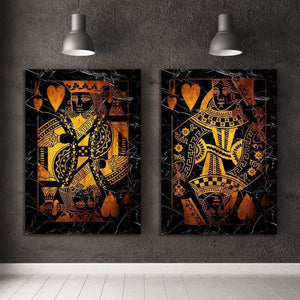 Gold King & Queen of Hearts Combo - Framed Canvas Painting Wall Art Office Decor, large modern pop artwork for home or office, Entrepreneur Inspirational and motivational Quotes on Canvas great for man cave or home. Perfect for Artwork Addicts. Made in USA, FREE Shipping.