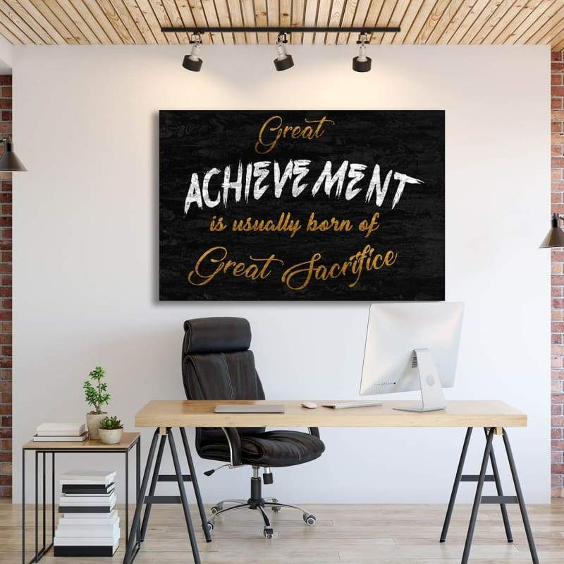 Great Achievement - Framed Canvas Painting Wall Art Office Decor, large modern pop artwork for home or office, Entrepreneur Inspirational and motivational Quotes on Canvas great for man cave or home. Perfect for Artwork Addicts. Made in USA, FREE Shipping.