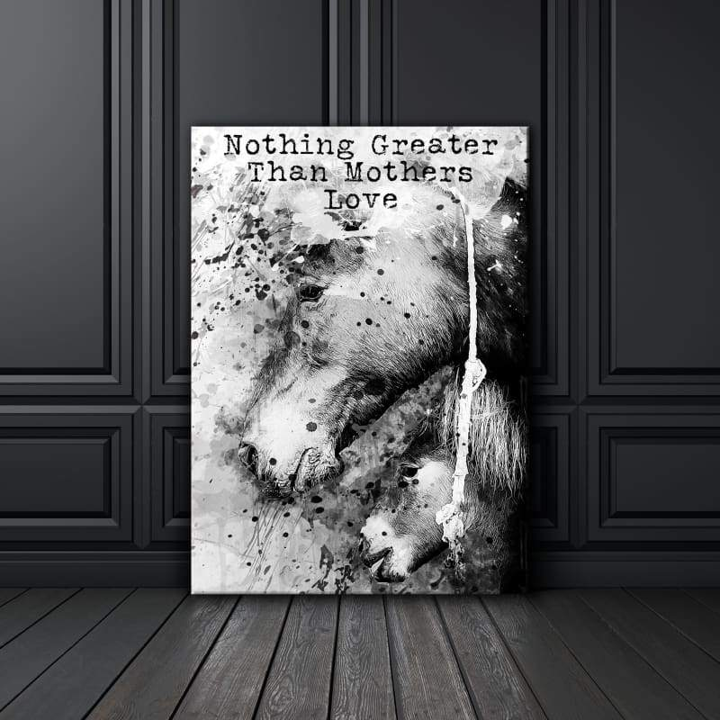 Horses Mothers & Child Love Quote - Framed Canvas Painting Wall Art Office Decor, large modern pop artwork for home or office, Entrepreneur Inspirational and motivational Quotes on Canvas great for man cave or home. Perfect for Artwork Addicts. Made in USA, FREE Shipping.