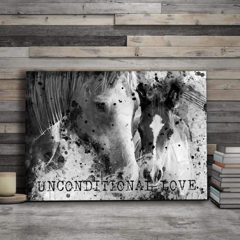 Horses Mother & Child Unconditional Love Quote - Framed Canvas Painting Wall Art Office Decor, large modern pop artwork for home or office, Entrepreneur Inspirational and motivational Quotes on Canvas great for man cave or home. Perfect for Artwork Addicts. Made in USA, FREE Shipping.