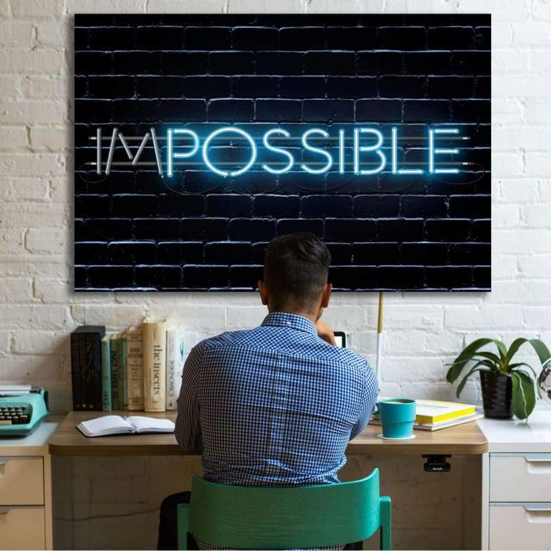 Impossible 2 - Framed Canvas Painting Wall Art Office Decor, large modern pop artwork for home or office, Entrepreneur Inspirational and motivational Quotes on Canvas great for man cave or home. Perfect for Artwork Addicts. Made in USA, FREE Shipping.