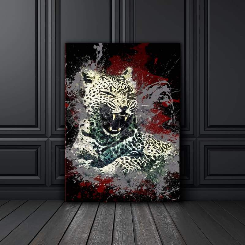 Leopard Paint Splatter - Framed Canvas Painting Wall Art Office Decor, large modern pop artwork for home or office, Entrepreneur Inspirational and motivational Quotes on Canvas great for man cave or home. Perfect for Artwork Addicts. Made in USA, FREE Shipping.