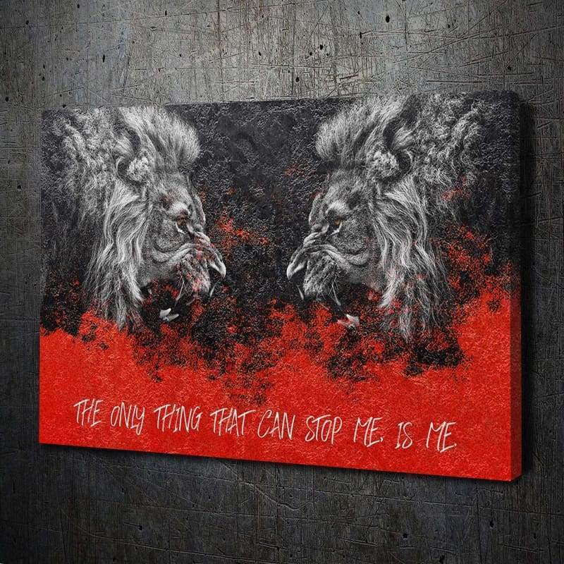 Lion Face-Off Stop Me - Framed Canvas Painting Wall Art Office Decor, large modern pop artwork for home or office, Entrepreneur Inspirational and motivational Quotes on Canvas great for man cave or home. Perfect for Artwork Addicts. Made in USA, FREE Shipping.
