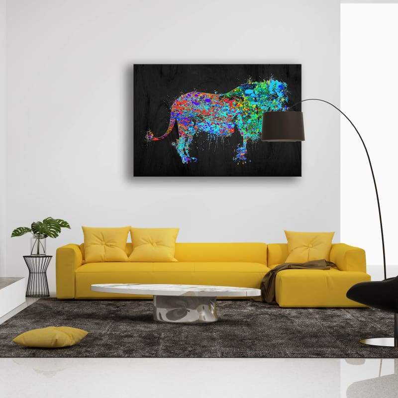 Lion Colorful Paint Splatter - Framed Canvas Painting Wall Art Office Decor, large modern pop artwork for home or office, Entrepreneur Inspirational and motivational Quotes on Canvas great for man cave or home. Perfect for Artwork Addicts. Made in USA, FREE Shipping.