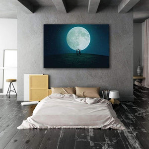 Love Heart Balloon Moon - Framed Canvas Painting Wall Art Office Decor, large modern pop artwork for home or office, Entrepreneur Inspirational and motivational Quotes on Canvas great for man cave or home. Perfect for Artwork Addicts. Made in USA, FREE Shipping.