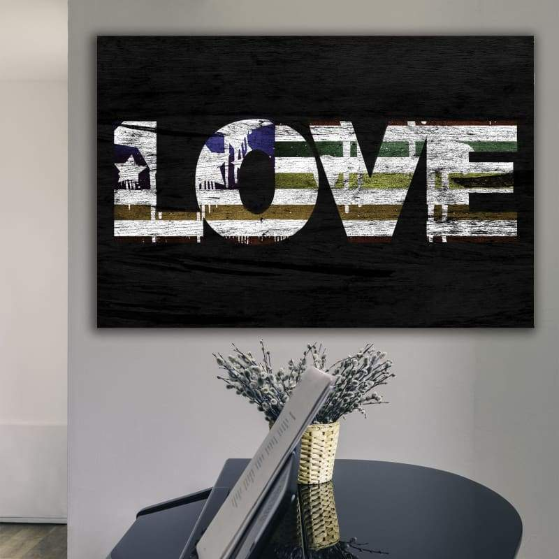 Love Rainbow Flag - Framed Canvas Painting Wall Art Office Decor, large modern pop artwork for home or office, Entrepreneur Inspirational and motivational Quotes on Canvas great for man cave or home. Perfect for Artwork Addicts. Made in USA, FREE Shipping.