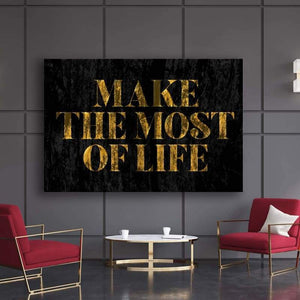 Make The Most - Framed Canvas Painting Wall Art Office Decor, large modern pop artwork for home or office, Entrepreneur Inspirational and motivational Quotes on Canvas great for man cave or home. Perfect for Artwork Addicts. Made in USA, FREE Shipping.