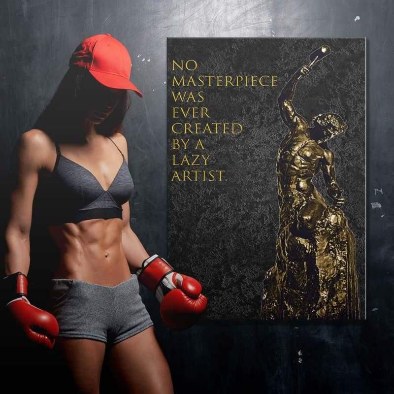 Masterpiece - Framed Canvas Painting Wall Art Office Decor, large modern pop artwork for home or office, Entrepreneur Inspirational and motivational Quotes on Canvas great for man cave or home. Perfect for Artwork Addicts. Made in USA, FREE Shipping.