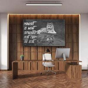 Mindset - Framed Canvas Painting Wall Art Office Decor, large modern pop artwork for home or office, Entrepreneur Inspirational and motivational Quotes on Canvas great for man cave or home. Perfect for Artwork Addicts. Made in USA, FREE Shipping.