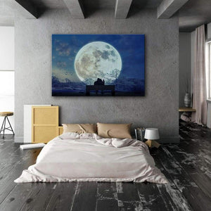 Moon Lovers - Framed Canvas Painting Wall Art Office Decor, large modern pop artwork for home or office, Entrepreneur Inspirational and motivational Quotes on Canvas great for man cave or home. Perfect for Artwork Addicts. Made in USA, FREE Shipping.